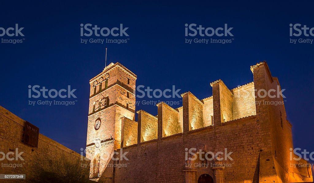 Ibiza Cathedral at night royalty-free stock photo