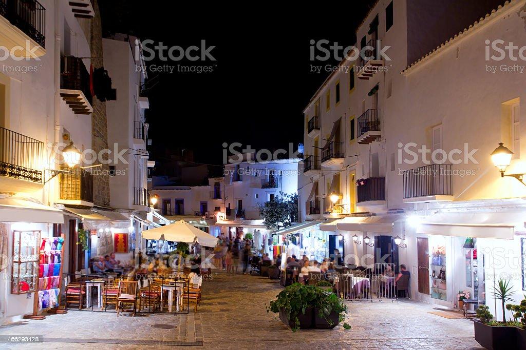 Ibiza dalt vila nightlife under night lights stock photo