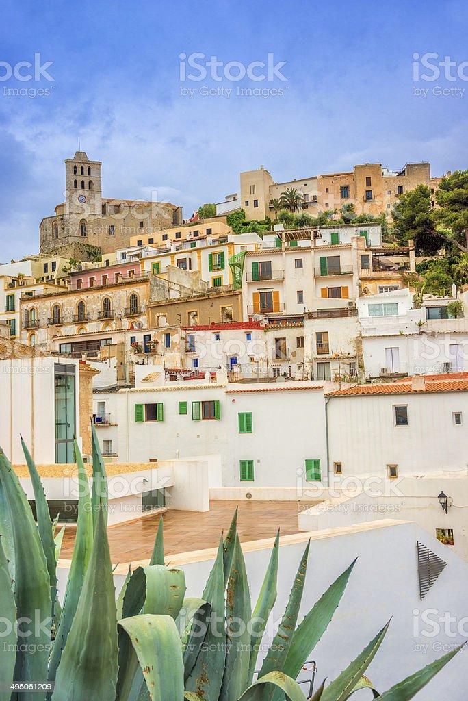 Ibiza - Dalt Vila under rainy sky stock photo