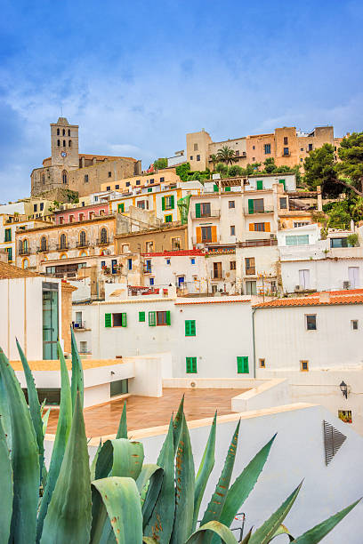 Ibiza - Dalt Vila under rainy sky stock photo