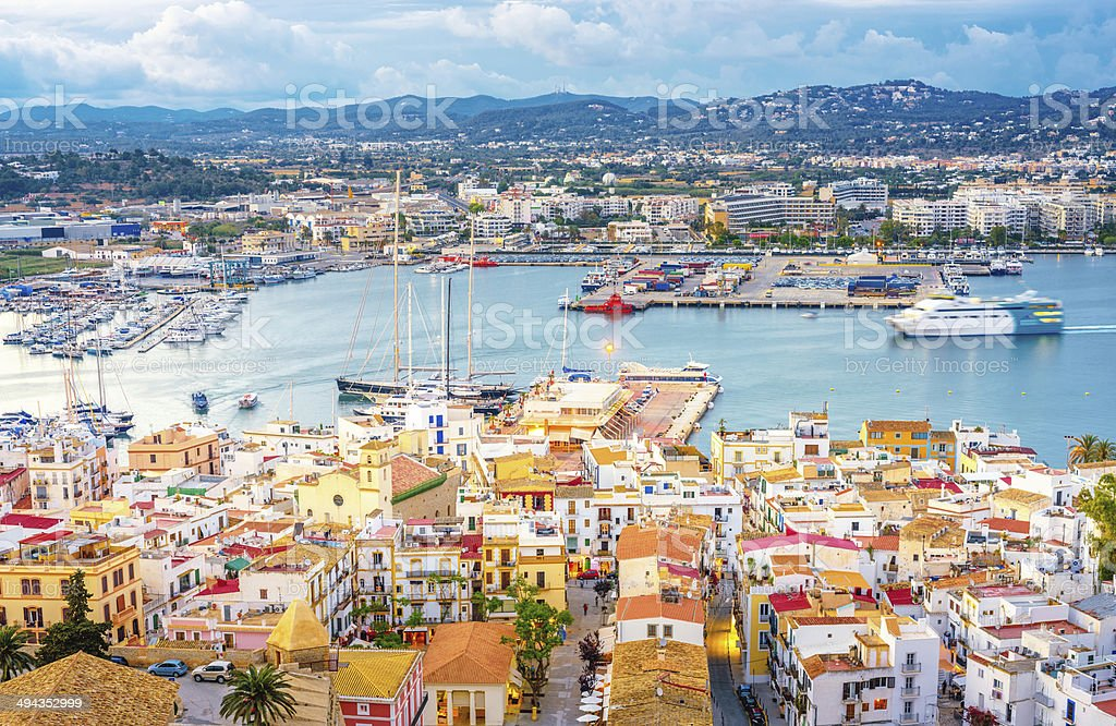 Ibiza - Elevated view over Ibiza Town and harbour stock photo