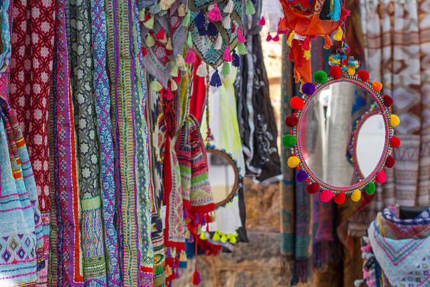 Ibiza hippy market stock photo