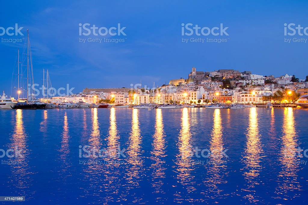 Ibiza island night view of Eivissa town stock photo