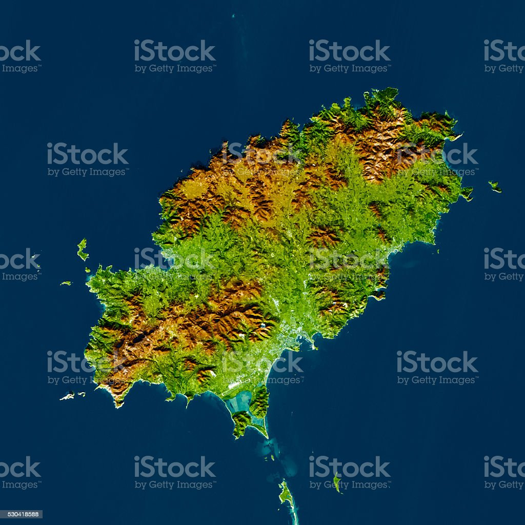 Ibiza Island Topographic Map Color Top View Stock Photo More