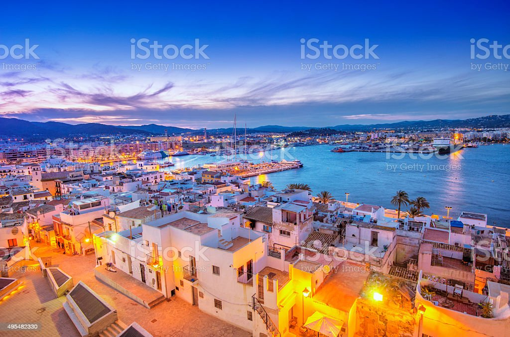 Ibiza Old Town and Harbour at dusk royalty-free stock photo