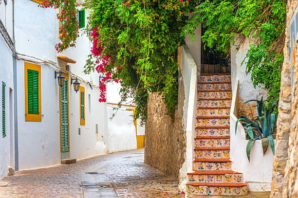 Ibiza Old Town scenery stock photo