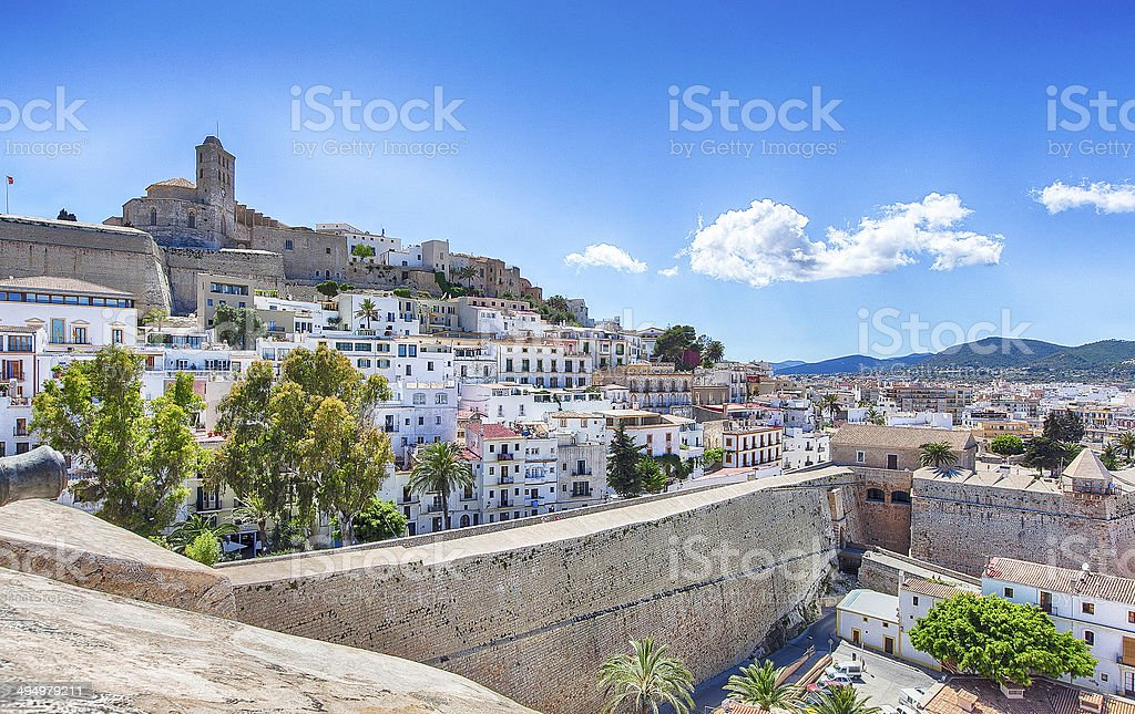 Ibiza old town/city : Sunny & Colorful Panorama stock photo