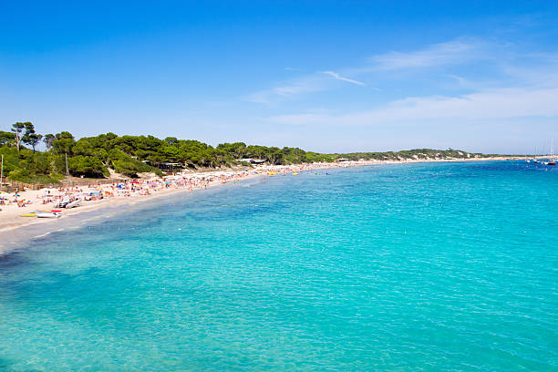 Ibiza Ses Salines south turquoise beach stock photo