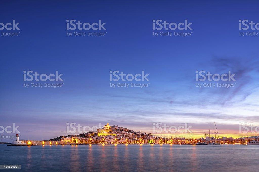 Ibiza - Sunset over Ibiza Town stock photo
