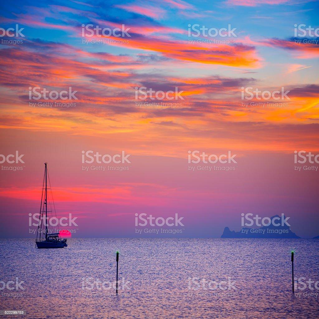 Ibiza sunset view from formentera Island stock photo