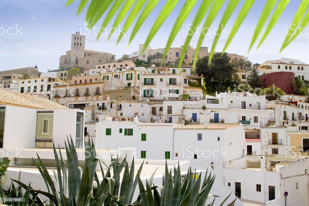 Ibiza white balearic island village dalt vila downtown stock photo
