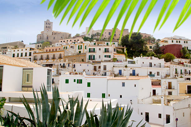 Ibiza white balearic island village dalt vila downtown stock photo