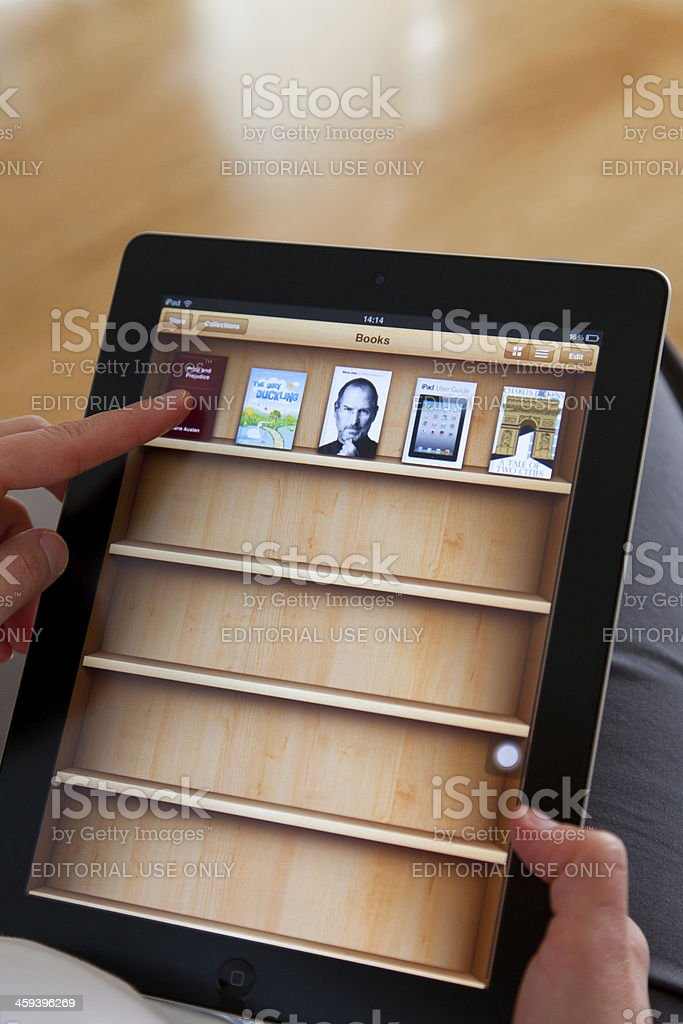 iBook on iPad 2 stock photo