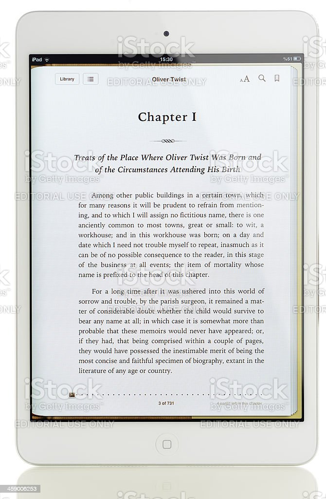 iBook on iPad Mini stock photo