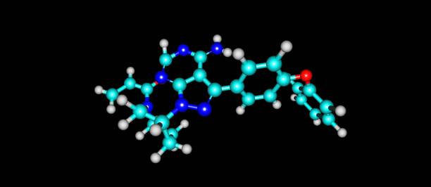Ibrutinib molecular structure isolated on black – zdjęcie