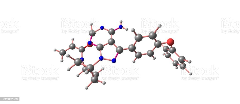 Ibrutinib molecular structure isolated on white stock photo