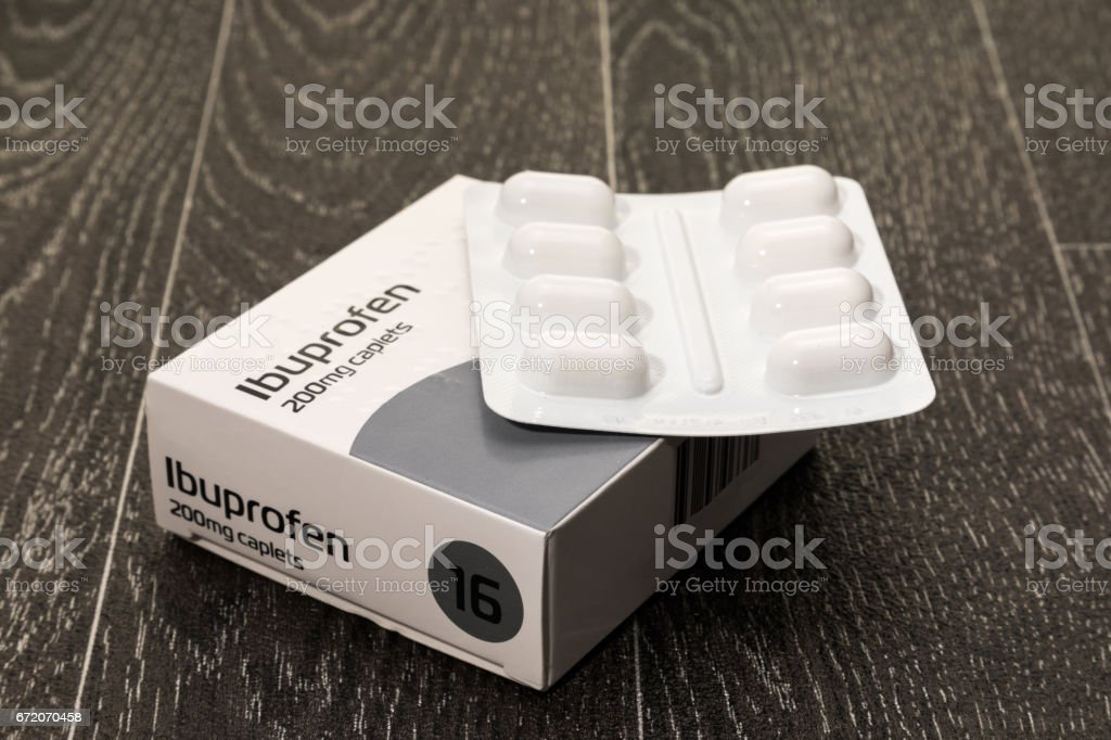 Ibuprofen tablets stock photo