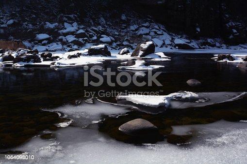 겨울 얼음이 얼어버린 강가에서