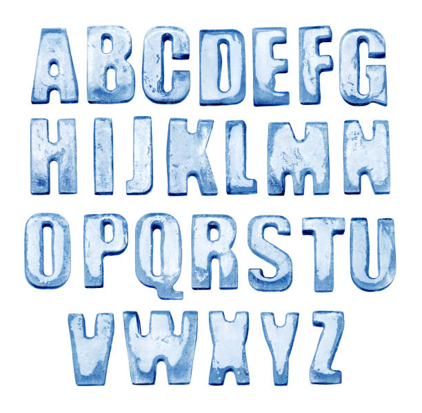 Ice Alphabet. Isolated on white. Real photos of frozen letters stock photo