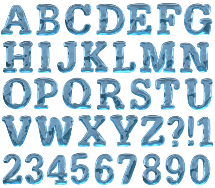 Ice Alphabet. 3d render. Added clipping path. Max size one letter - 1200px in hight