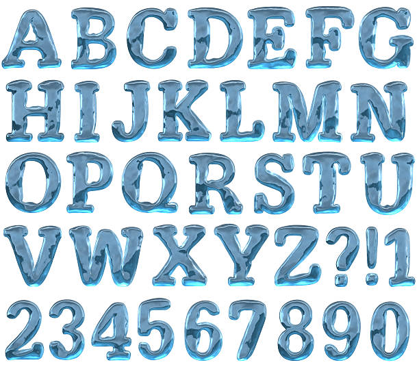 Ice alphabet Ice Alphabet. 3d render. Added clipping path. Max size one letter - 1200px in hight letter p stock pictures, royalty-free photos & images