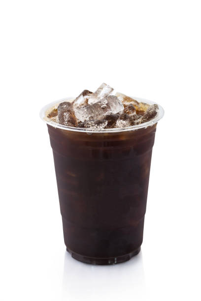 Ice americano coffee on white background. Isolated stock photo