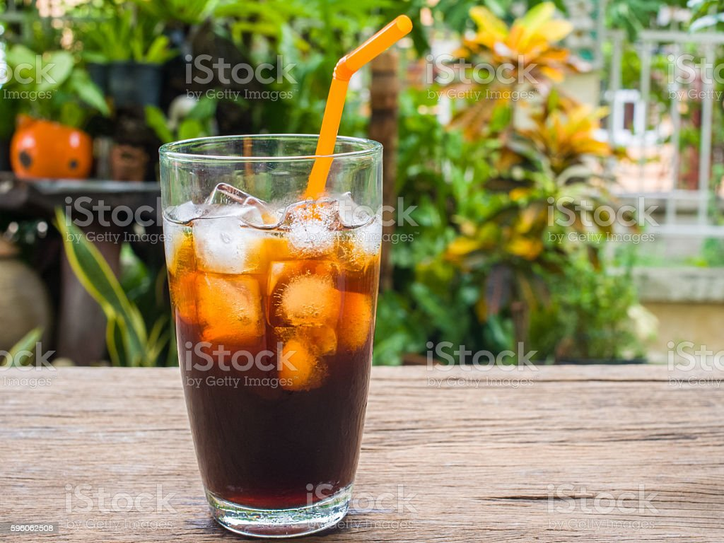 Ice americano on the garden royalty-free stock photo