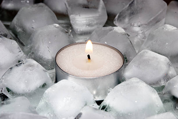 Ice and candle stock photo