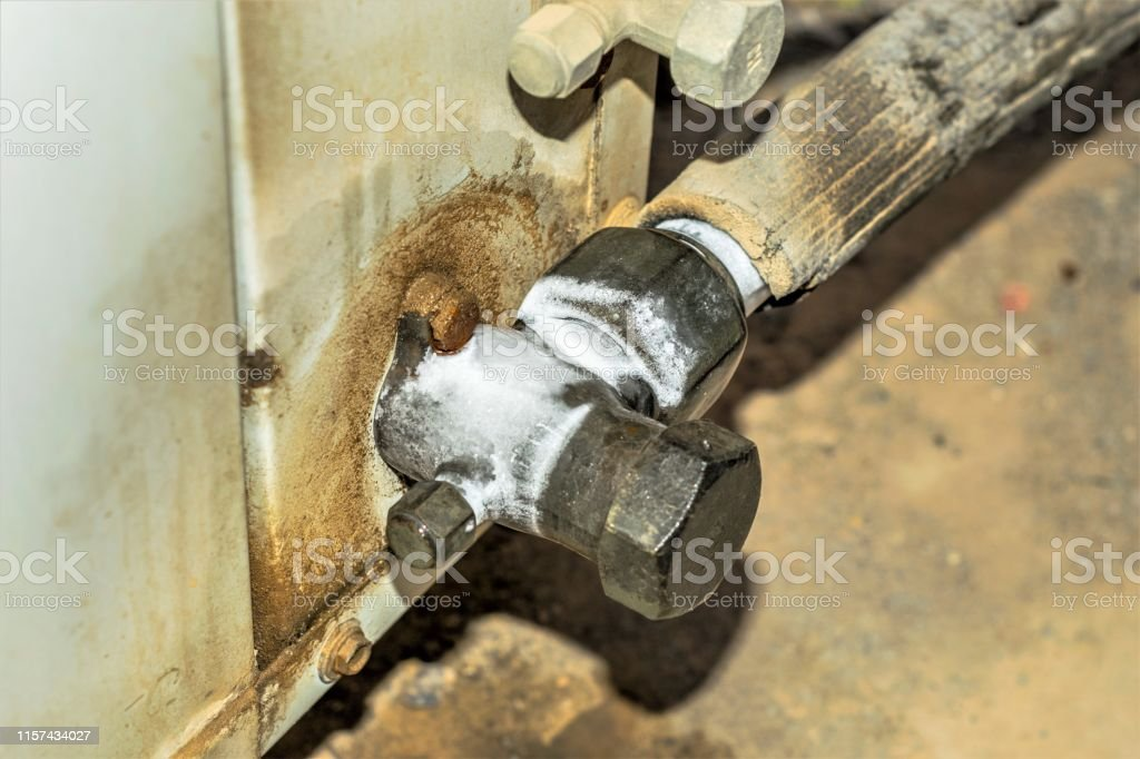 Ice And Cold Pipe Of Central Air Conditioning Cooling System Stock