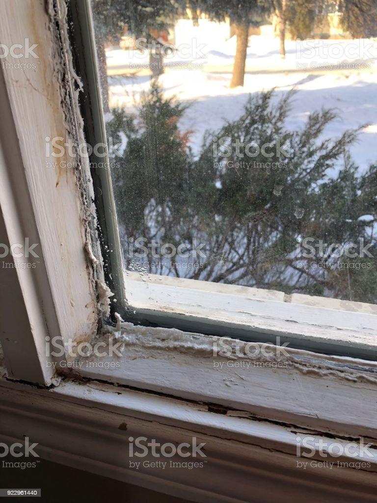 Eis Und Frost Auf Einer Fensterbank Schlecht Fehlerhafte Abdichten