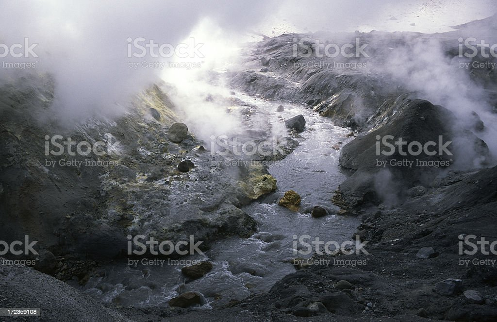 Ice and smoke in the Mutnovsky royalty-free stock photo