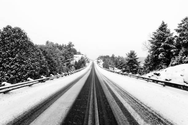 Ice and snow on a highway in Ontario stock photo