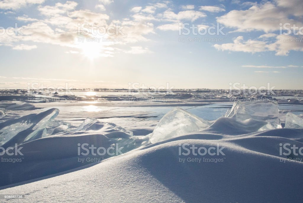 Ice and Snow on Lake Huron stock photo