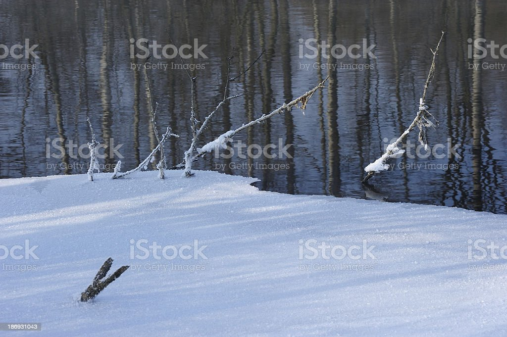Ice and snow surface of the water royalty-free stock photo