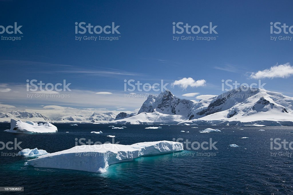 Ice and snowy mountains with water in the Paradise Harbour royalty-free stock photo