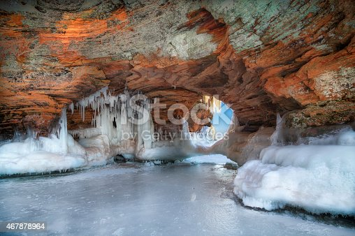 A beautiful natural arch on Lake Superior covered in ice