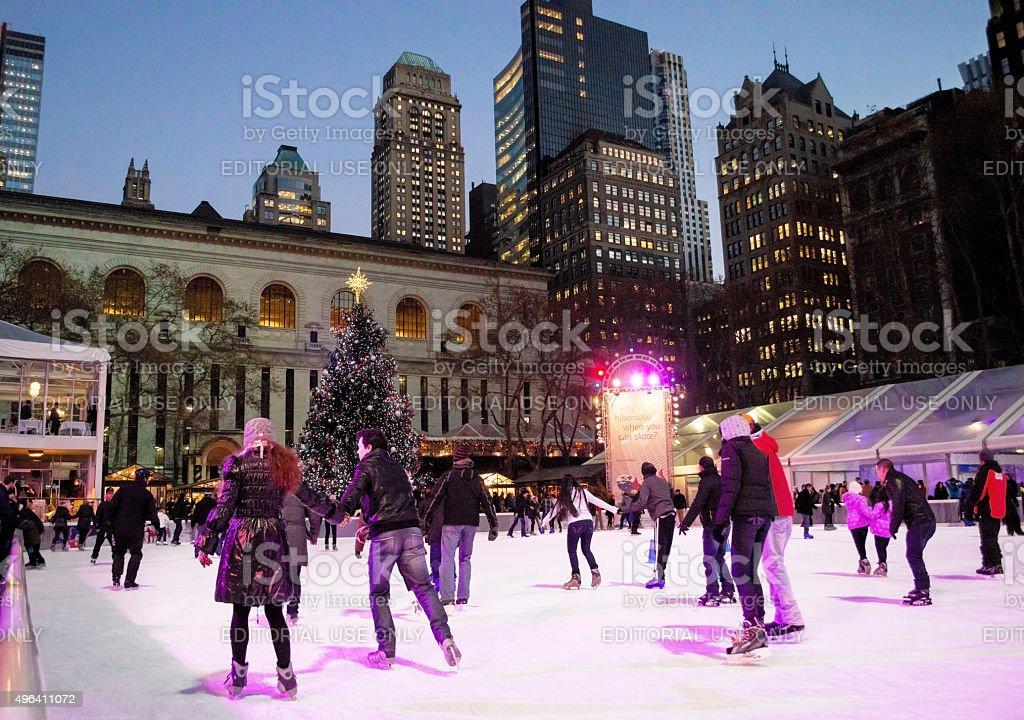 Ice At Night Bryant Park stock photo
