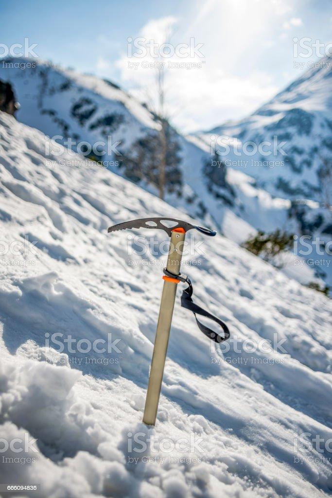 Ice axe in the tatra mountains stock photo