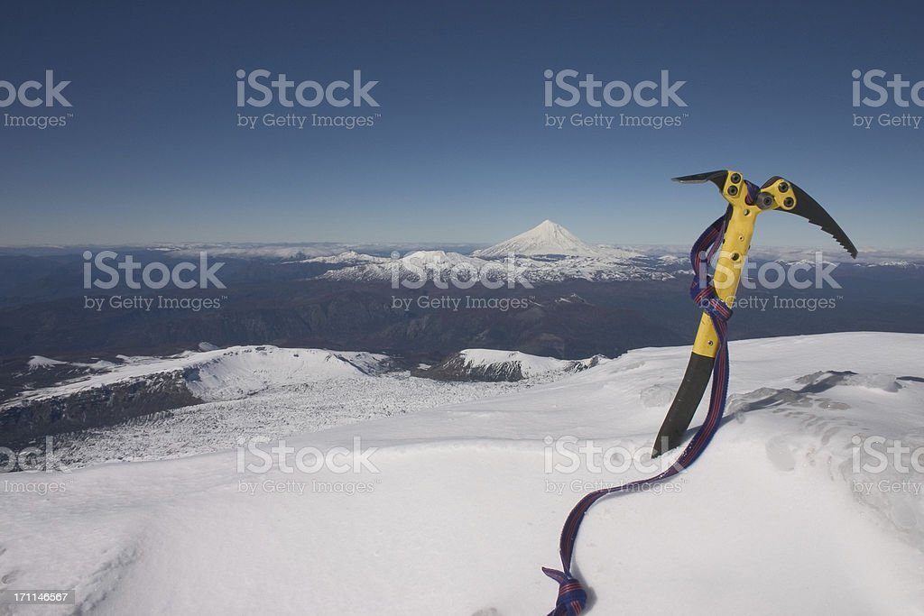 Ice Axe on Top of a volcano royalty-free stock photo