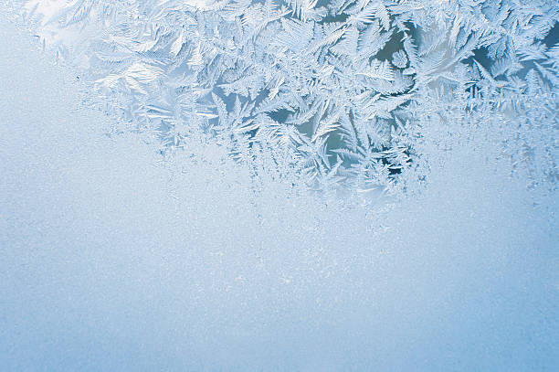 Ice background, frost on window stock photo