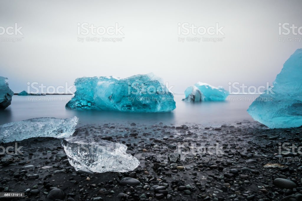 Ice Beach at Jokulsarlon glacier lagoon in Iceland stock photo