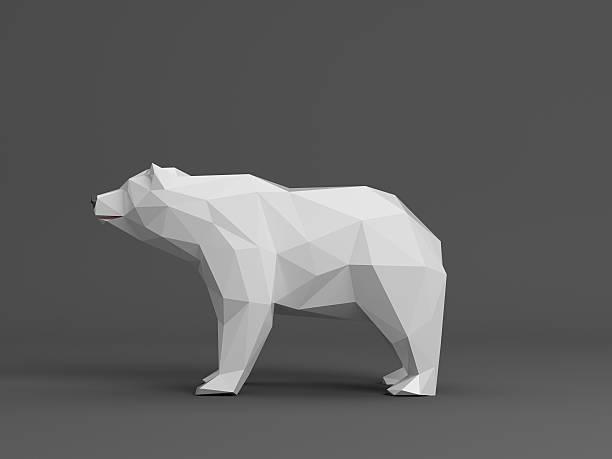 ice bear renderd en estilo polygon - foto de stock