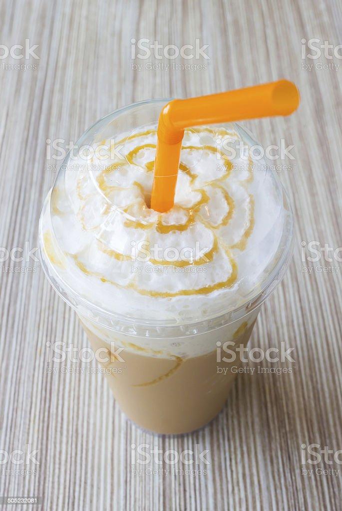 ice blend caramel coffee stock photo
