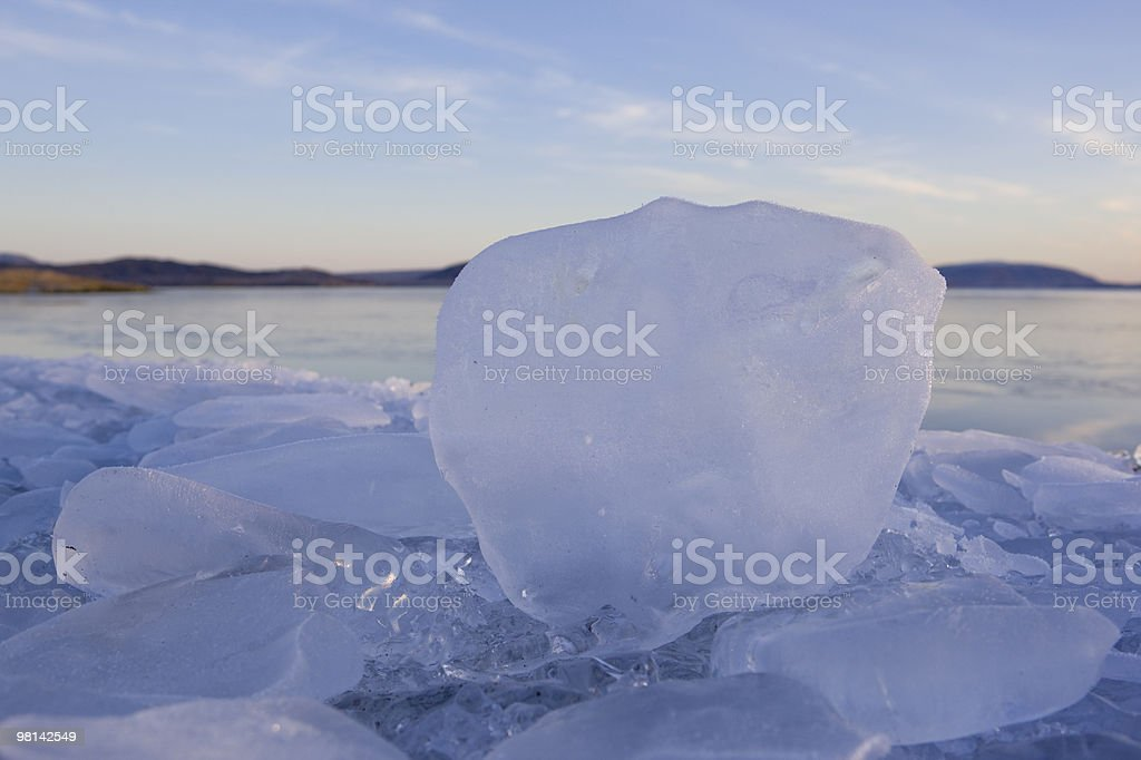 ice block on glacier in Iceland @ sunset royalty-free stock photo