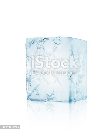 Ice block with cracks isolated on white backgroundSEE OTHER SIMILAR PICTURES