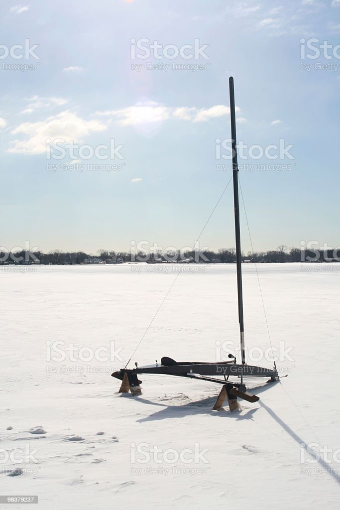 Ice boat on lake in Indiana, USA royalty-free stock photo