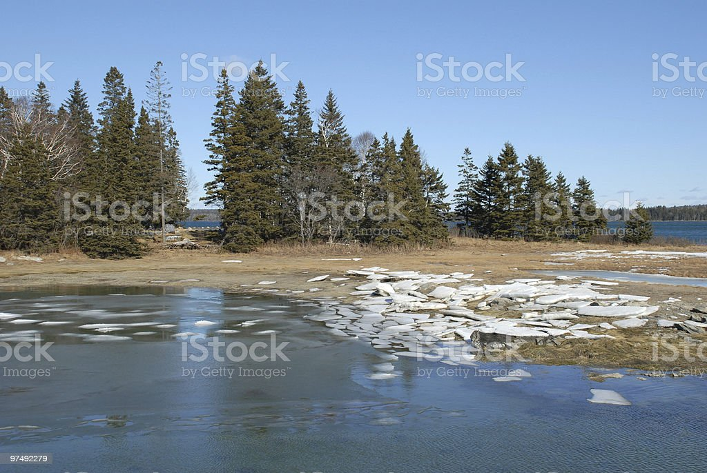 Ice borders shore of Acadia National Park island royalty-free stock photo