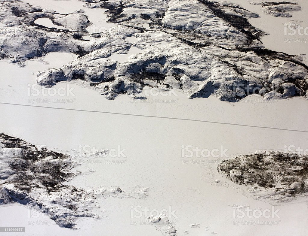 Ice Breaker path through Arctic Islands stock photo