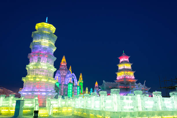 Ice building Harbin, China - December 30, 2013: Harbin Ice and Snow World. Located in Harbin City, Heilongjiang Province, China. harbin stock pictures, royalty-free photos & images