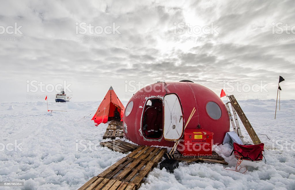 Ice camp of a polar research expedition stock photo